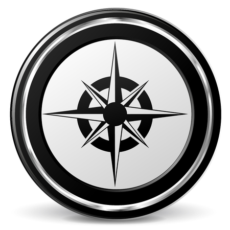 Illustration of compass black and gray icon Illustration