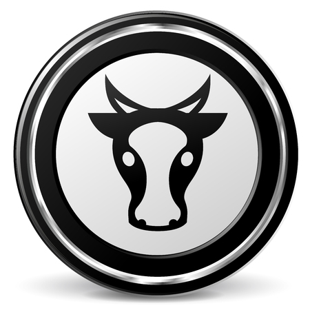 Illustration of cow black and gray icon