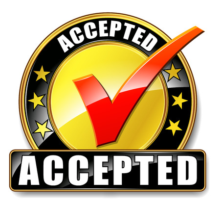 approval icon: Illustration of accepted icon on white background