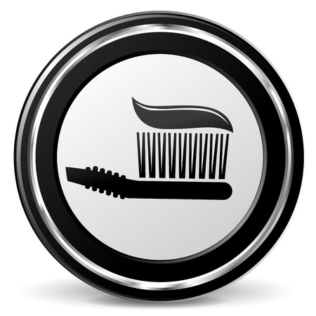 alu: Illustration of teeth brush black and gray icon