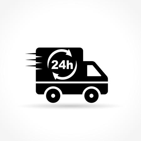 Ilustración de la furgoneta de reparto icono en el fondo blanco