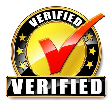 Illustration of verified icon on white background