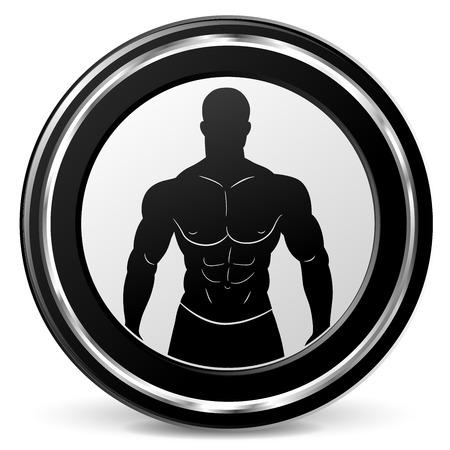 Illustration of bodybuilding icon on white background