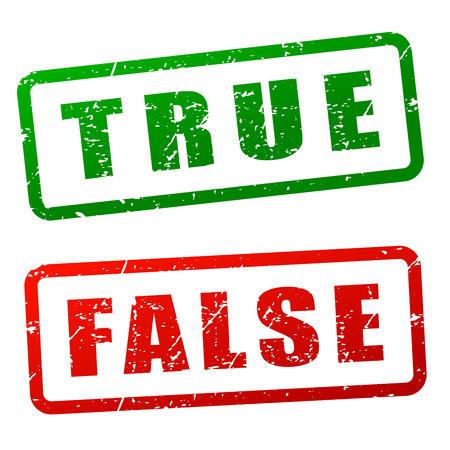 true: Illustration of true and false stamp design Illustration