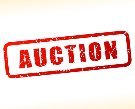 auctioneer: Illustration of auction stamp on white background