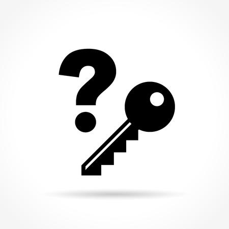 secret code: Illustration of key icon on white background