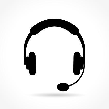 Illustration of headset black icon on white background