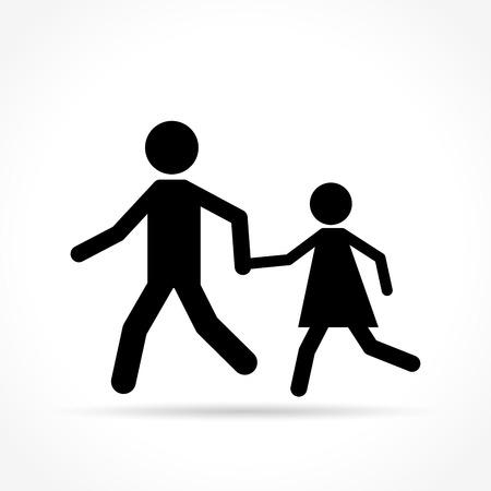 pedestrians: Illustration of pedestrians icon on white background Illustration