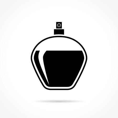 Ilustración del icono de botella de perfume en el fondo blanco