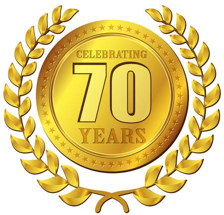 seventy: Illustration of anniversary celebration gold icon design