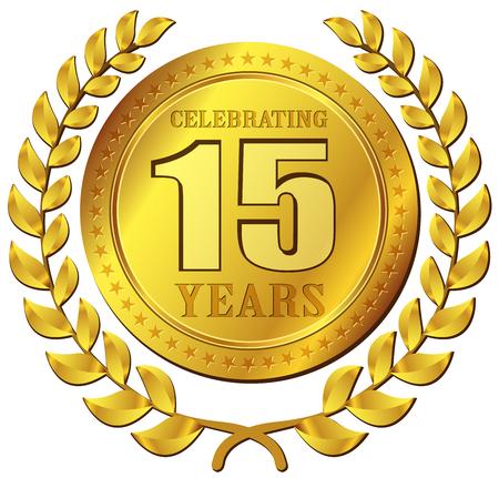 Ilustración de la celebración del aniversario de diseño de iconos de oro