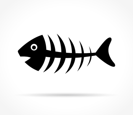 Illustration of fishbone icon on white background