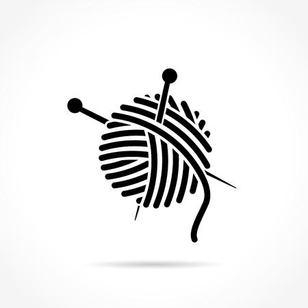 Illustration de boule de laine icône sur fond blanc