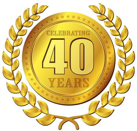 Illustration of anniversary celebration gold icon design