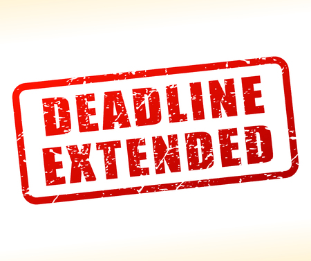 Illustration of deadline extended text buffered on white background
