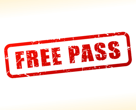 Illustration of free pass text buffered on white background Vector Illustration