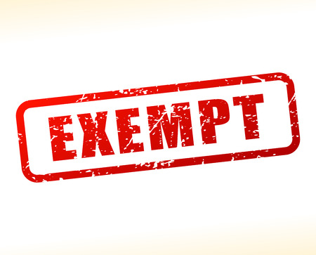 exempt: Illustration of exempt text buffered on white background