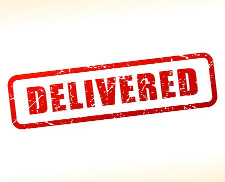 delivered: Illustration of delivered text buffered on white background Illustration