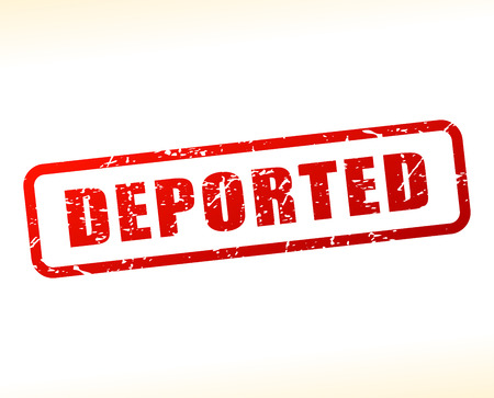 deported: Illustration of deported text buffered on white background