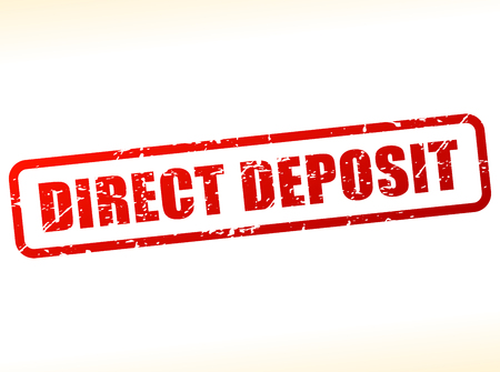 direct: Illustration of direct deposit text buffered on white background