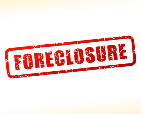 Illustration of foreclosure text buffered on white background Illustration