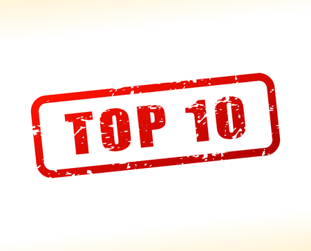 top ten: Illustration of top ten text buffered on white background