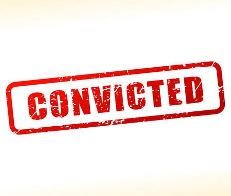 imprison: Illustration of convicted text buffered on white background