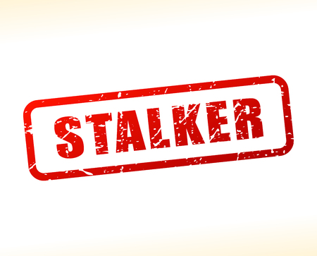 chaser: Illustration of stalker text buffered on white background Illustration