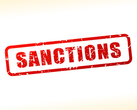 sanction: Illustration of sanctions text buffered on white background