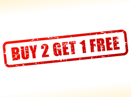 Illustration of buy two get one free text buffered