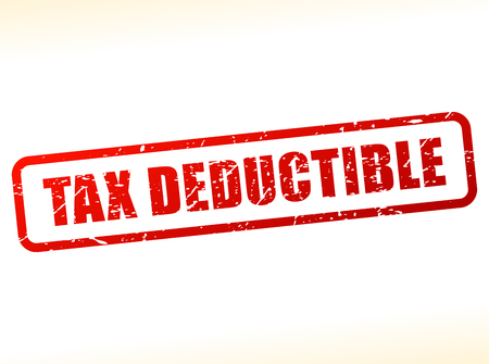 deductions: Illustration of tax deductible text buffered on white background