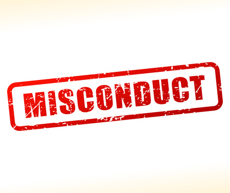 misconduct: Illustration of misconduct text buffered on white background Illustration