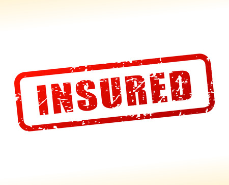 insured: Illustration of insured text buffered on white background