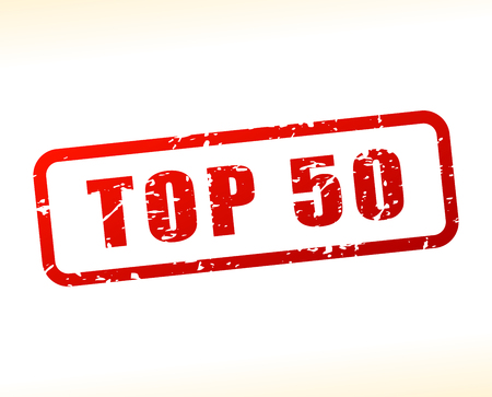 top 50 icon: Illustration of top fifty text buffered on white background