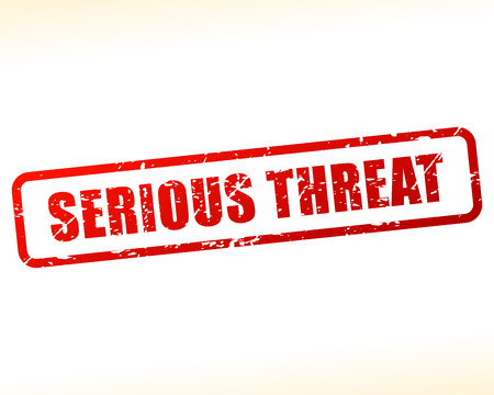 threat: Illustration of serious threat text buffered on white background Illustration