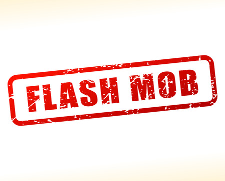 mob: Illustration of flash mob text buffered on white background Illustration