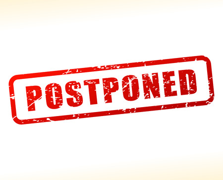 Illustration of postponed text buffered on white background