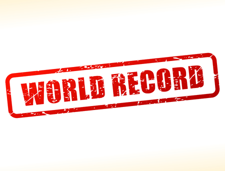 world record: Illustration of world record text buffered on white background