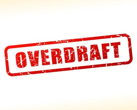 liquidation: Illustration of overdraft text buffered on white background Illustration