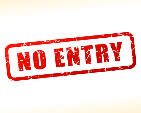 unreachable: Illustration of no entry text buffered on white background