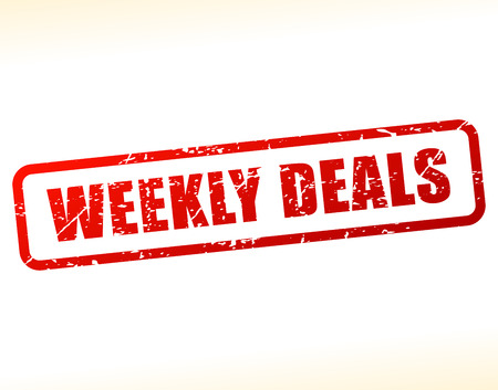 weekly: Illustration of weekly deals text buffered on white background Illustration