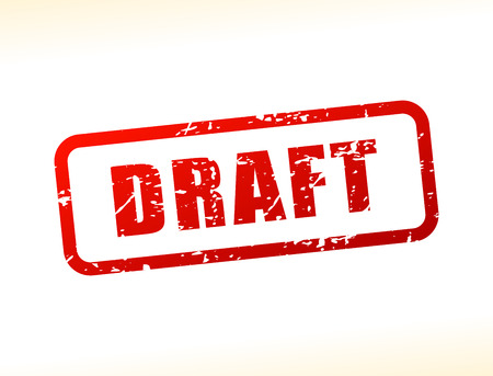 Illustration of draft text buffered on white background