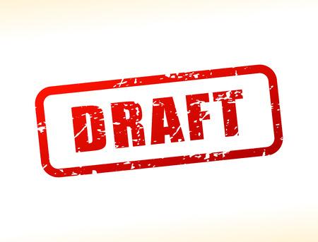 Ilustración del borrador del texto almacenado en el fondo blanco