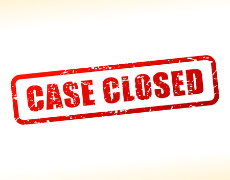 proceedings: Illustration of case closed text buffered on white background