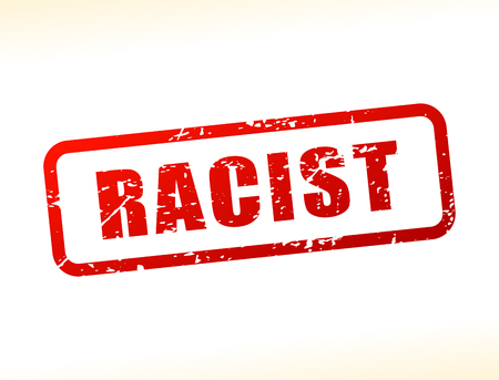 discriminate: Illustration of racist text buffered on white background
