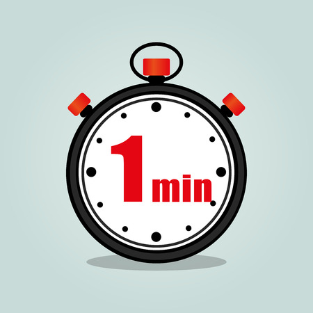 Illustration of one minute stopwatch isolated icon