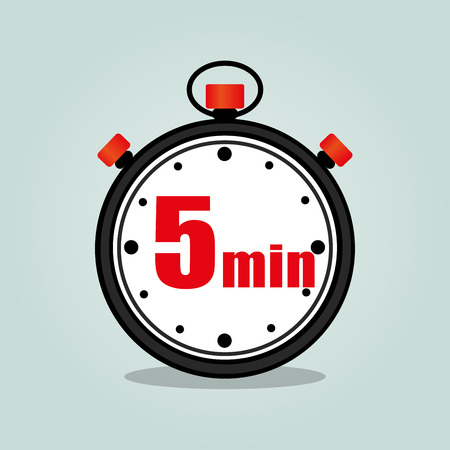 Illustration of five minutes stopwatch isolated icon