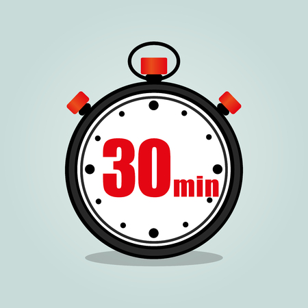Illustration of thirty minutes stopwatch isolated icon