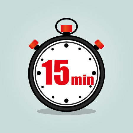 fifteen: Illustration of fifteen minutes stopwatch isolated icon Illustration
