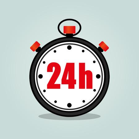 Illustration of twenty four hours stopwatch isolated icon